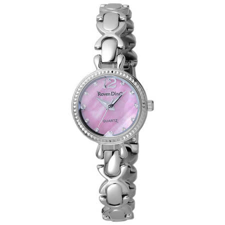 Roven Dino羅梵迪諾  甜蜜炫彩枷鎖晶鑽時尚錶-粉X銀