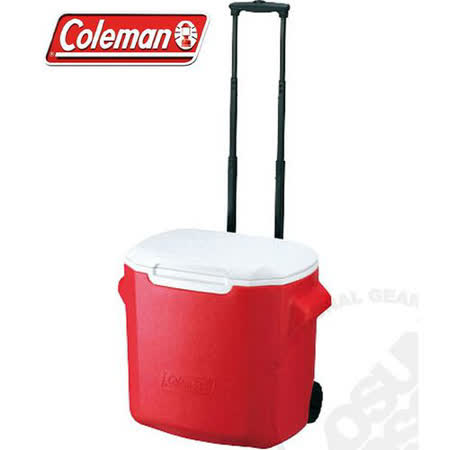 【美國 Coleman】 26.5L拖輪置物型冰桶(原廠公司貨).保冷冰箱.拉桿式行動冰箱.露營保鮮.可當露營椅/特價中 CM-0026 紅