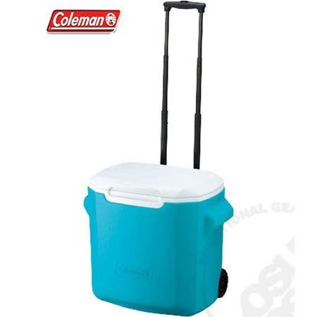 【美國 Coleman】 26.5L拖輪置物型冰桶(原廠公司貨).保冷冰箱.拉桿式行動冰箱/特價中 CM-0029 藍