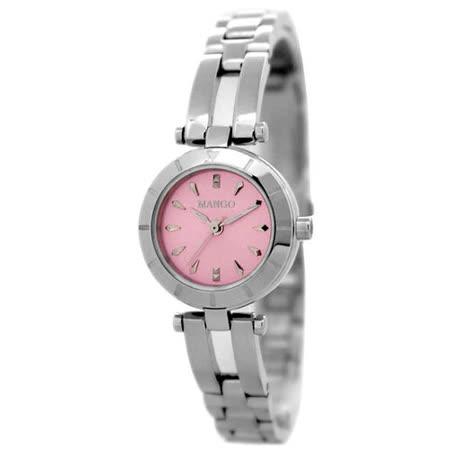 MANGO  華麗佳人時尚腕錶-粉X銀