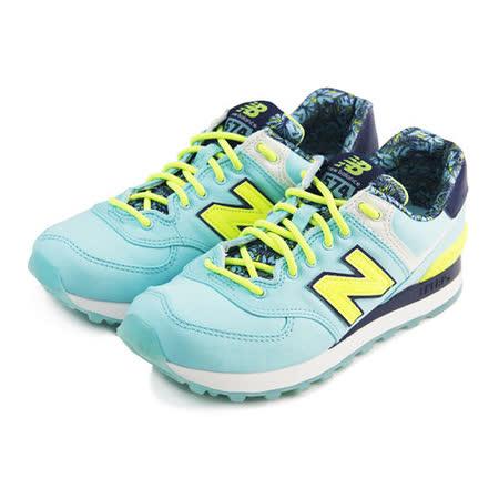 (女)NEW BALANCE 復古鞋 淺藍/螢光黃-WL574ILA