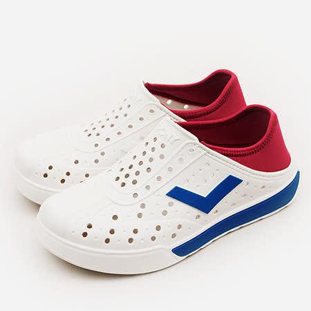 【PONY】男 防水透氣 EN-JOY 二代洞洞休閒鞋 白紅藍 52U1SA64RD