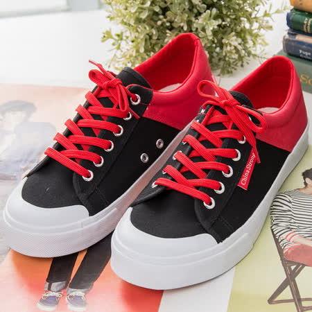中國強 MIT運動休閒帆布鞋CH103(黑/紅) 女鞋