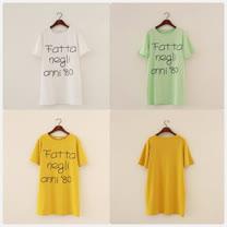 【韓系女衫】夏季韓風FATTA字母寬鬆中長板短袖棉T