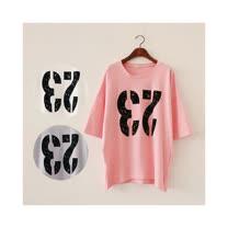 【韓系女衫】夏季休閒寬鬆反23數字短袖中長版上衣