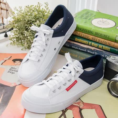 中國強 MIT運動休閒帆布鞋CH103(白/藍) 男鞋