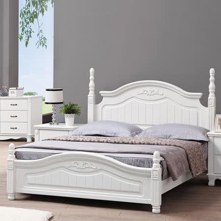 HAPPYHOME 凡尼絲烤白5尺雙人床架639-1不含床頭櫃-床墊