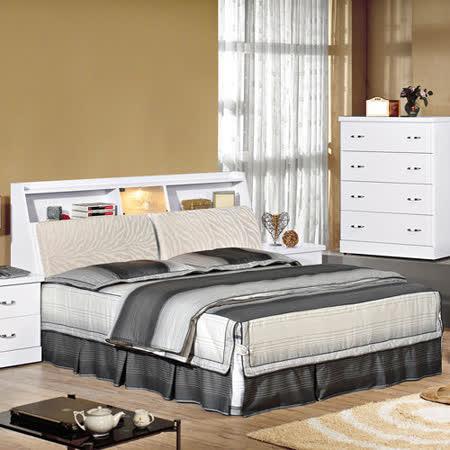 HAPPYHOME 福特純白6尺布面加大雙人床644-3+644-4不含床頭櫃-床墊