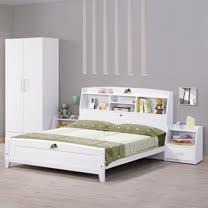 HAPPYHOME 菲莉絲白色5尺彩繪書架雙人床架653-1不含床頭櫃-床墊