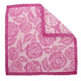 YSL 玫瑰花圖紋LOGO滾邊純棉方巾-紫紅色