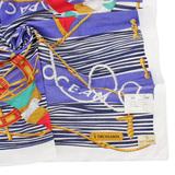 TRUSSARDI 海洋風情純棉帕巾-藍