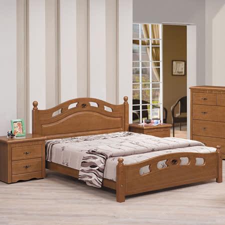 HAPPYHOME 恩雅5尺樟木色雙人床架681-1不含床頭櫃-床墊