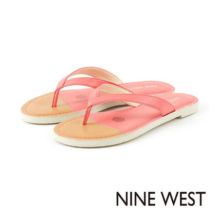 NINE WEST -時髦一夏 撞色夾腳平底拖鞋--橘紅
