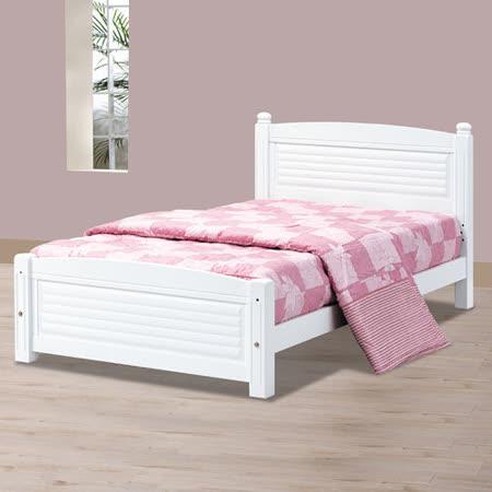 HAPPYHOME 時尚白色百葉3.5尺加大單人床架700-3不含床頭櫃-床墊