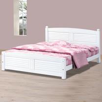 HAPPYHOME 時尚白色百葉5尺雙人床架700-4不含床頭櫃-床墊