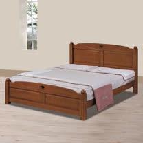 HAPPYHOME 安堤柚木色5尺雙人床架703-5不含床頭櫃-床墊