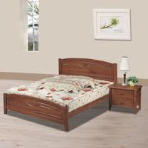 HAPPYHOME 馨合淺胡桃色6尺加大雙人床架705-6不含床頭櫃-床墊