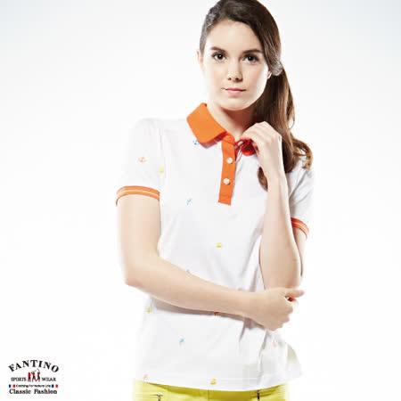 【FANTINO】女款海洋風印花POLO衫 (白) 571208