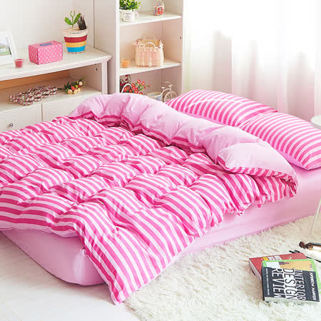 RODERLY-小清新-雙色條紋-雙人四件式兩用被床包組
