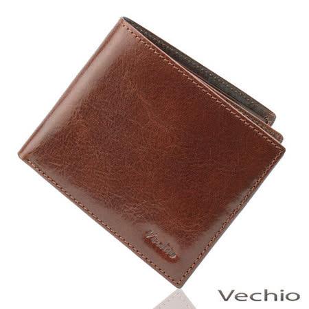 VECHIO 原皮系列12卡可翻透明窗短夾(褐色)VE031W02BR