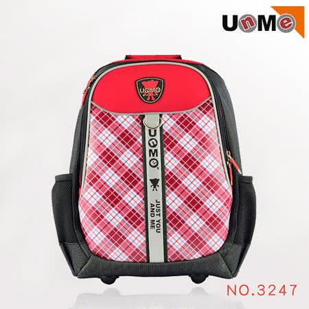 【UnMe】蘇格蘭紋多功能後背書包(電腦包/紅格)