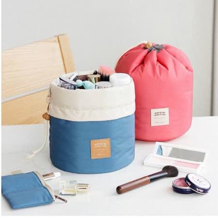 【旅遊首選、旅行用品】韓風圓筒束口袋 化妝包 旅行袋 超值三件收納組