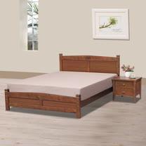 HAPPYHOME 馨瑪淺胡桃色5尺雙人床架706-4不含床頭櫃-床墊