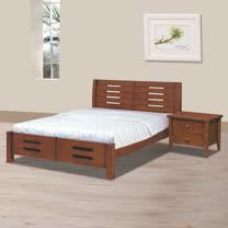 HAPPYHOME 馨妮淺胡桃色5尺雙人床架706-8不含床頭櫃-床墊