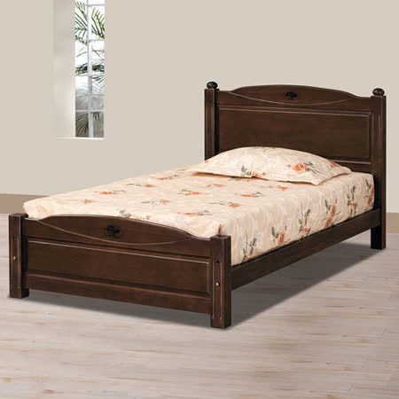 HAPPYHOME 安堤3.5尺胡桃加大單人床架707-3不含床頭櫃-床墊