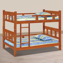 HAPPYHOME 柚木色3.7尺角柱雙層床714-1不含床墊