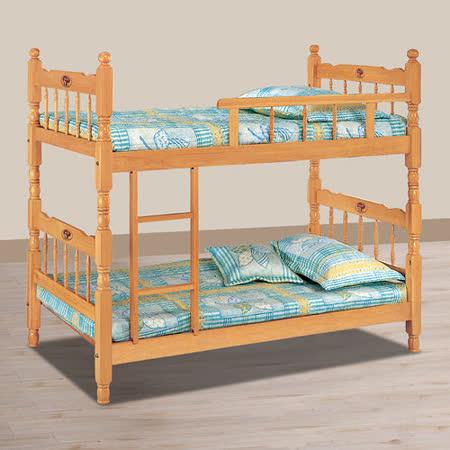 HAPPYHOME 成號3.6尺白木方柱單欄雙層床716-3不含床墊
