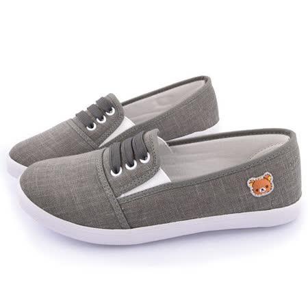 童鞋城堡-拉拉熊 女款 懶人休閒帆布鞋KM8210-灰