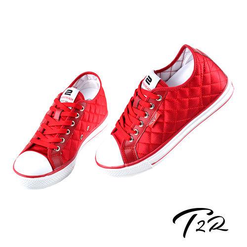 【韓國T2R】NEW時尚菱格專利氣墊隱形增高鞋 紅 ↑7cm 5600-0098