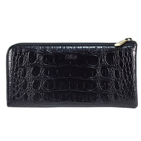 SIKA義大利時尚牛皮壓鱷魚紋拉鍊長夾S8299-03質感黑+贈鑰匙環