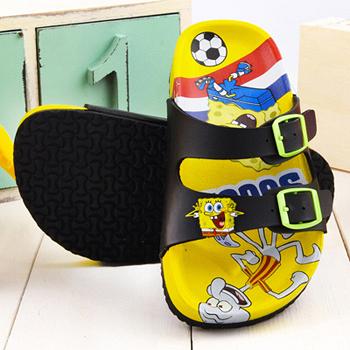 童鞋城堡-海綿寶寶 中童 足球風不對稱拖鞋SG1269-黃