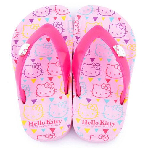 童鞋城堡-Hello kitty 中大童 滿版KITTY夾腳拖815756-粉