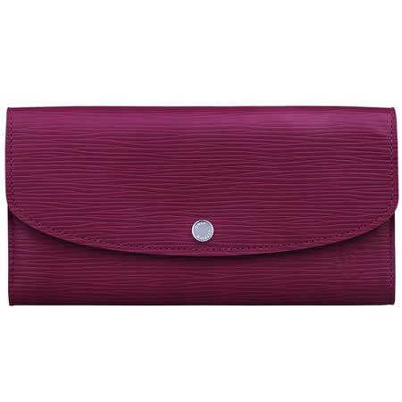 LV M60714 經典EPI水波紋皮革SARAH釦式長夾(紫紅)