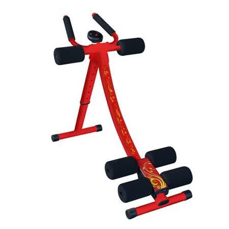 拉麗神天天拉 五分鐘健腹器 健身機 +贈伸展拉力繩*2-台灣製全方位腰腹運動健美機 滑軌加寬豪華紅彩繪金紋款健身器提臀健腹機