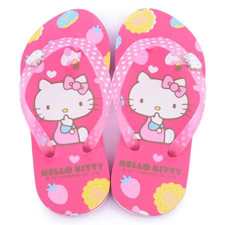 童鞋城堡-Hello kitty 中大童 點心風夾腳拖815761-桃紅