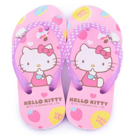 童鞋城堡-Hello kitty 中大童 點心風夾腳拖815761-粉