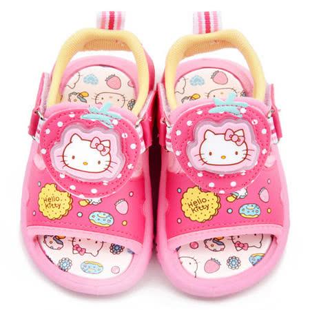 童鞋城堡-Hello Kitty 中童 LED電燈雙魔鬼氈涼鞋815724-桃