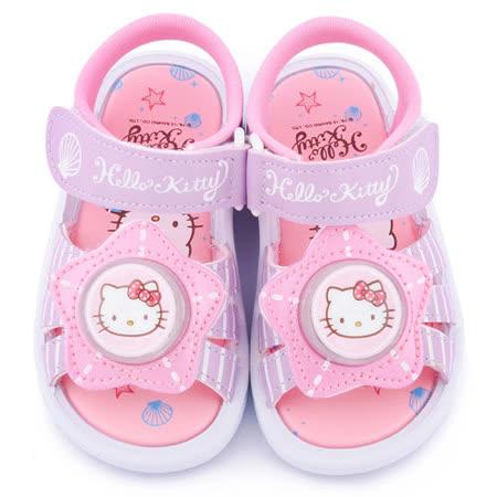 童鞋城堡-Hello Kitty 中童 星星造型LED燈涼鞋815715-紫