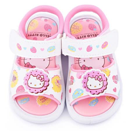 童鞋城堡-Hello Kitty 小童 甜點風嗶嗶涼鞋815713-白