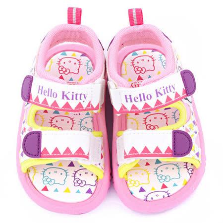 童鞋城堡-Hello Kitty 中童 圖騰民族風涼鞋815721-白粉