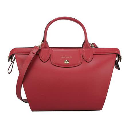 Longchamp 新款Heritage防刮皮革手提斜背二用包-紅色