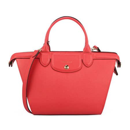 Longchamp 新款Heritage防刮皮革手提斜背二用包-橘紅色