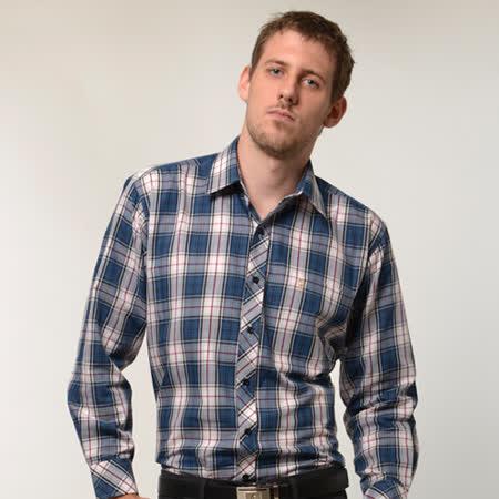 【金安德森】經典格紋紅藍相間長袖襯衫