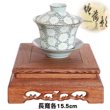 【塘荷影】黑雞翅木繪紋正方台(15.5cm)