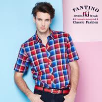 【FANTINO】男款 奧地利進口純棉襯衫 (紅藍漸層格紋)  534313