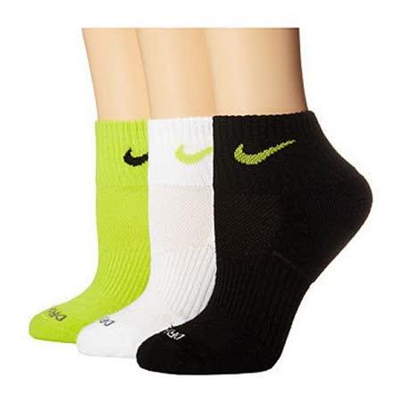 Nike 2015女時尚Dri Fit黑白綠1/4低切混搭運動短襪3入組【預購】